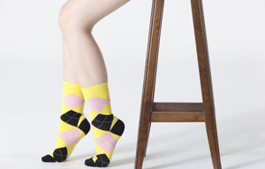 Women's Black Pineapple Argyle Socks