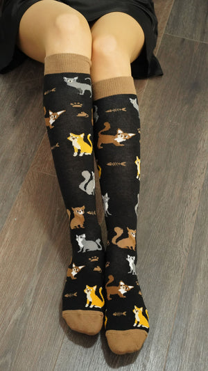 Women's Cute Cats Knee High Socks | 5 Pack