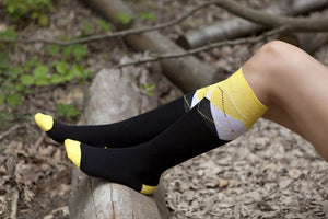 Women's Black Lemon Knee High Socks