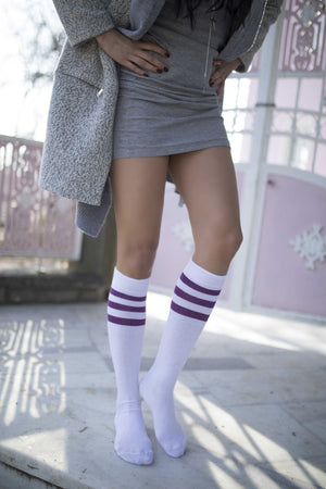 Women's Solid Purple Stripe Knee High Socks