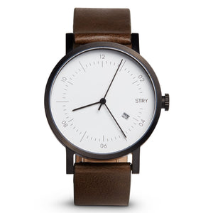 George 40mm Watch | Black case White Dial Olive Leather Strap