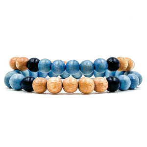 Everwood Beaded Bracelet 2 Pack - Sky Blue, Natural Maple, & Black