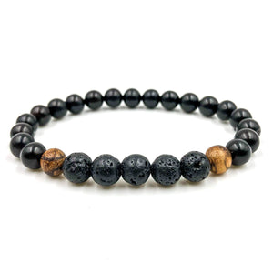 Kingston Lava Rock and Wood Beaded Bracelet