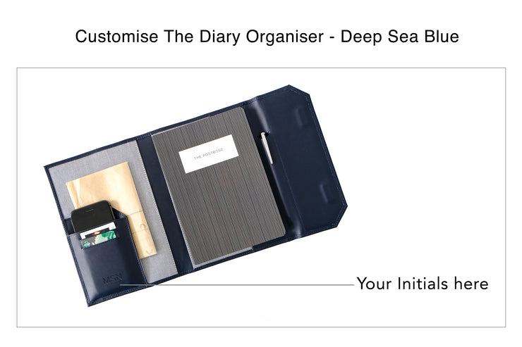 Diary Organiser - Deep Sea Blue / Stripes (Custom)