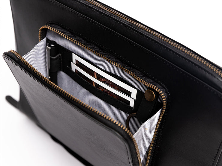 Skara - Leather iPad Organiser Black (Custom)