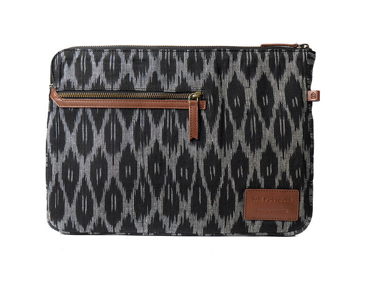 Rye Laptop Sleeve - Black Hand Woven Ikat