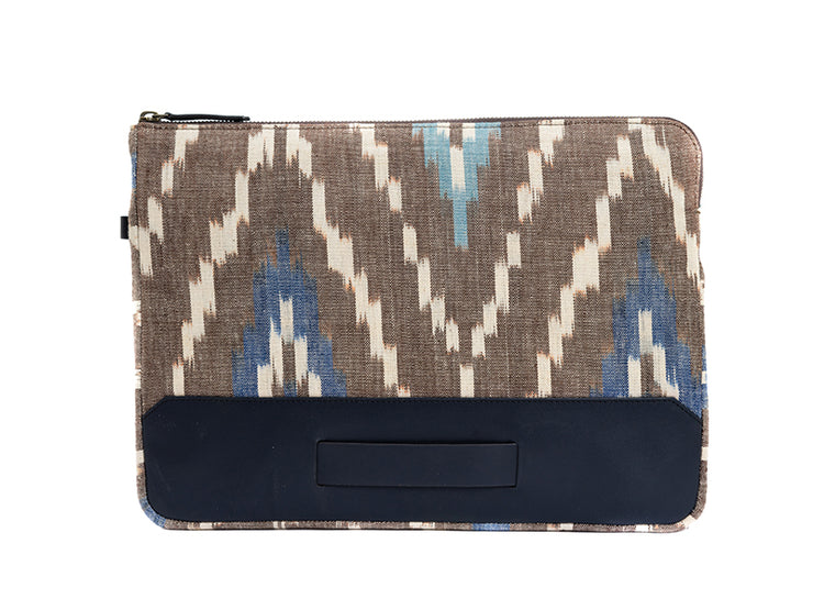Rye Laptop Sleeve - Brown Hand woven Ikat