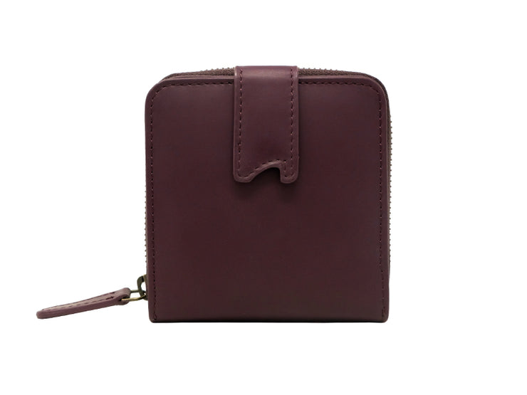 Sienna Bifold Zipper Wallet (Burgundy)