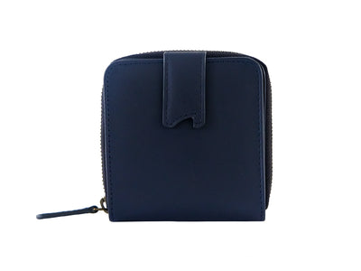 Sienna Bifold Zipper Wallet (Deep Sea Blue)