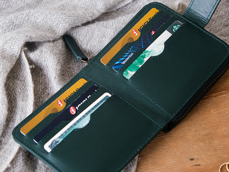 Sienna Bifold Zipper Wallet (Emerald Green)