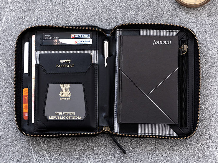 Voyager Passport Wallet - Black (Custom)