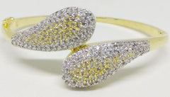 GOLD SILVER LUXURY STONE BANGLE-001