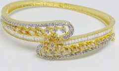 GOLD SILVER LUXURY STONE BANGLE 002