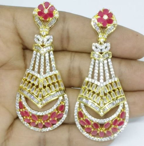 RED GOLD LUXURY STONE EARRING