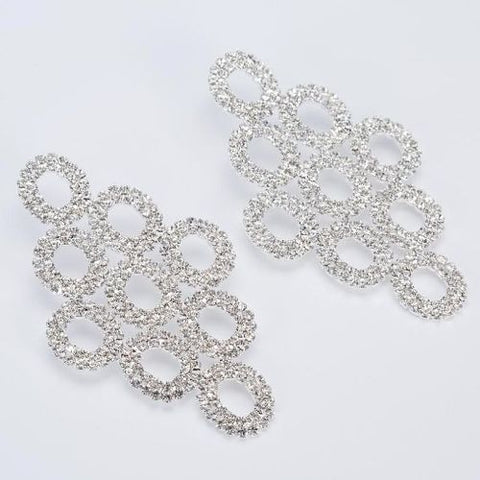 002 SILVER CRYSTAL DROP EARRING