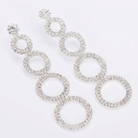 003 SILVER CRYSTAL DROP EARRING