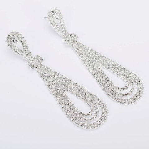 005 SILVER CRYSTAL DROP EARRING