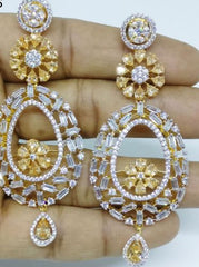 GOLD SILVER LUXURY STONE EARRING 006