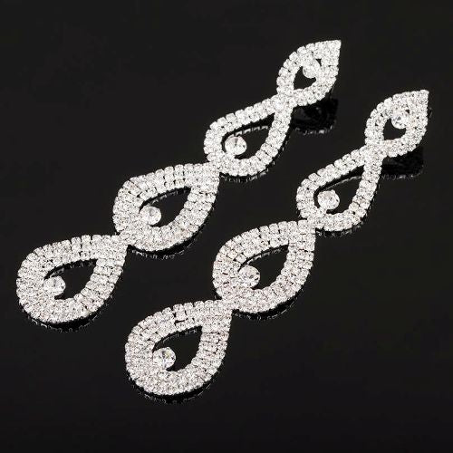008 SILVER CRYSTAL DROP EARRING
