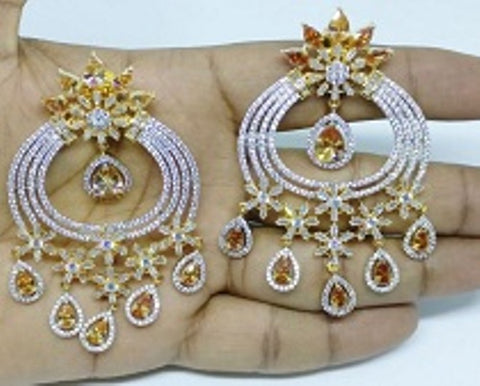 009 GOLD LUXURY STONE EARRING