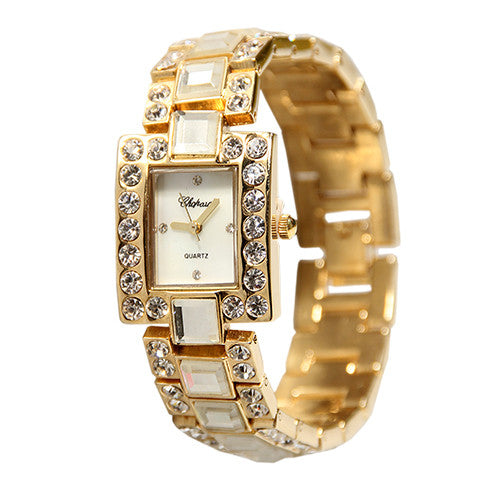 Chopard 235-Square Stone Gold/Silver Ladies Chain Watch