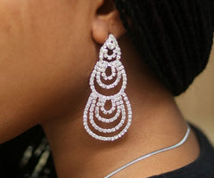 011 SILVER CRYSTAL DROP EARRING