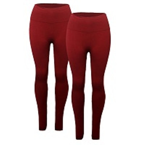 Ladies Thick Plus Size High-Waist Leggings - WINE