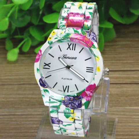 GENEVA 9700 WHITE FLOWER WATCH