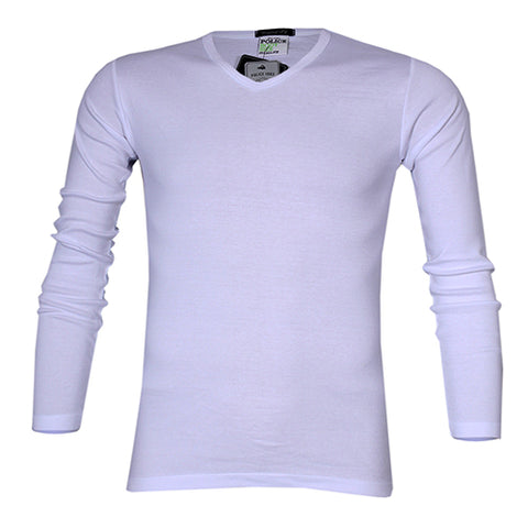 POLICE 1008 FREESIZE PLAIN WHITE MEDIUM LONG SLEEVE T-SHIRT