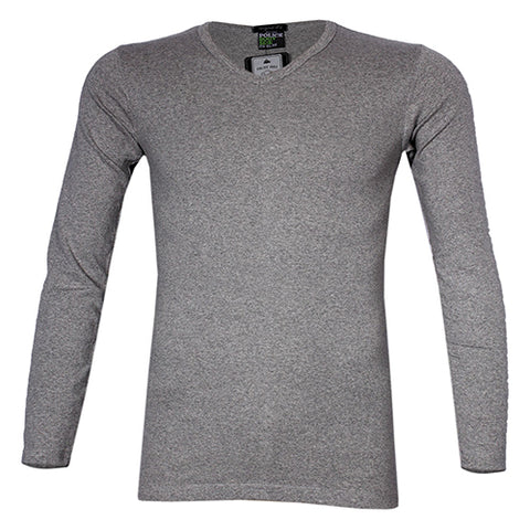 POLICE 1008 FREESIZE PLAIN GREY MEDIUM LONG SLEEVE T-SHIRT