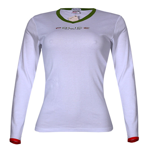 POLICE G.273 BODYGIRL WHITE MEDIUM PRINTED LONG SLEEVE T-SHIRT