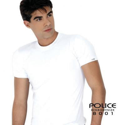 POLICE B.001 BIGSIZE PLAIN WHITE LARGE SHORT SLEEVE T-SHIRT