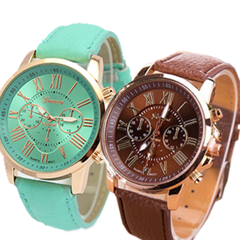 Geneva 9701 Mint Green Brown Leather Watch Bundle