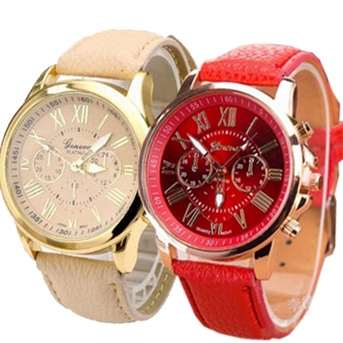 Geneva 9701 Cream Red leather watch Bundle