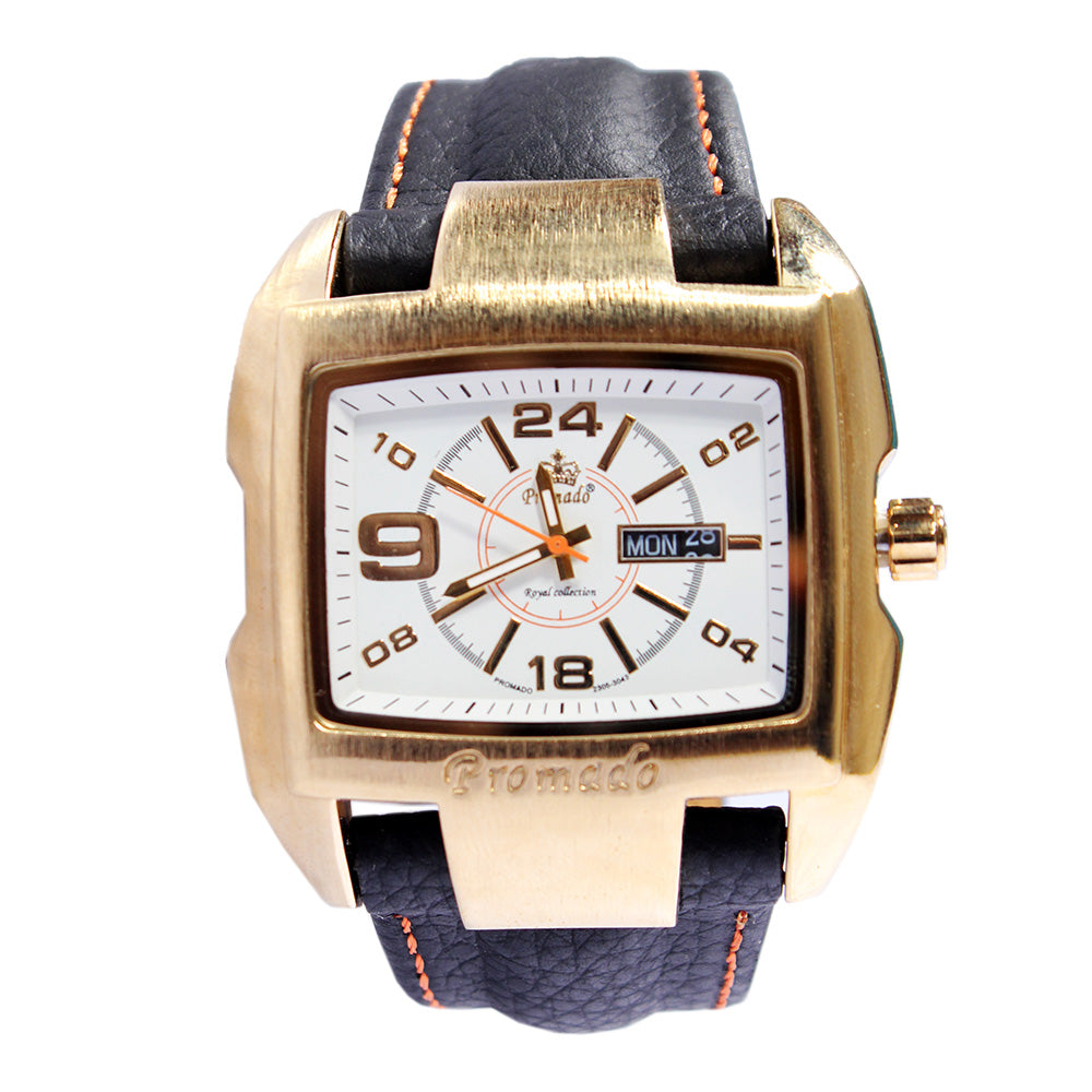 Promado B3043 18K GOLD Leather Gold Face Watch - Gold