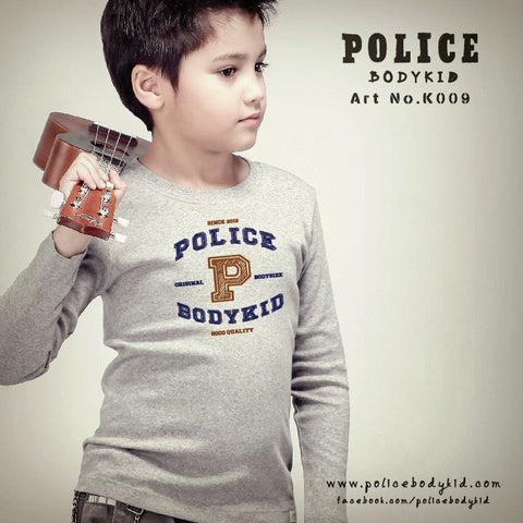 POLICE K.009 BODYKID GREY PRINTED LONG SLEEVE T-SHIRT