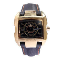 Promado B3043 18K GOLD Leather Black Face Watch - Black