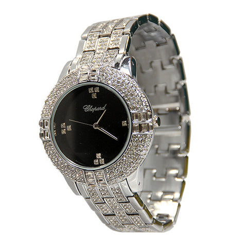 Chopard Stone Silver Luxury Watch Black Face