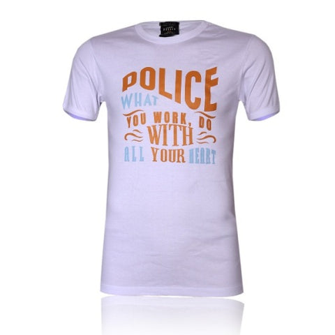 POLICE B.347 LARGE WHITE PRINTED SHORT SLEEVE T-SHIRT