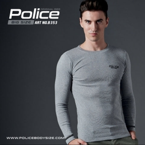 POLICE B.353 BIGSIZE GREY LARGE PRINTED LONG SLEEVE T-SHIRT