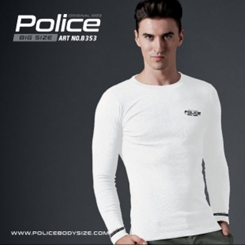 POLICE B.353 BIGSIZE WHITE LARGE PRINTED LONG SLEEVE T-SHIRT