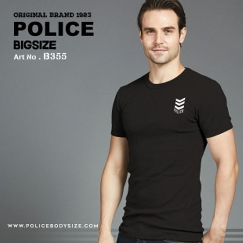 POLICE B.355 LARGE BLACK PRINTED SHORT SLEEVE T-SHIRT
