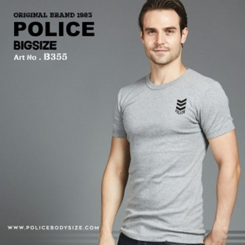 POLICE B.355 LARGE GREY PRINTED SHORT SLEEVE T-SHIRT