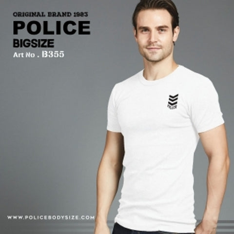 POLICE B.355 LARGE WHITE PRINTED SHORT SLEEVE T-SHIRT