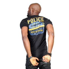 POLICE B.308 BIGSIZE WHITE/BLACK/GREY LARGE PRINTED SHORT SLEEVE T-SHIRT