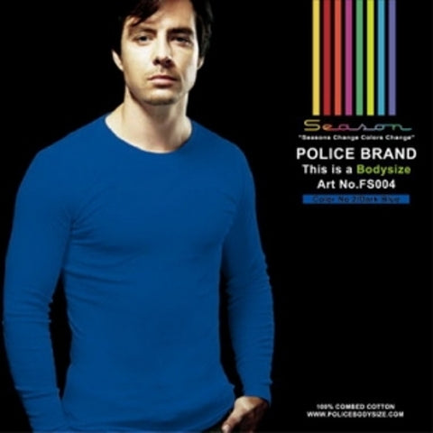 POLICE FS.004 FREESIZE PLAIN DARK BLUE MEDIUM LONG SLEEVE T-SHIRT