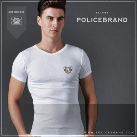 POLICE F.484 FREESIZE WHITE MEDIUM PRINTED SHORT SLEEVE T-SHIRT
