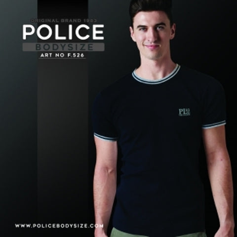 POLICE F.526 FREESIZE BLACK MEDIUM PRINTED SHORT SLEEVE T-SHIRT