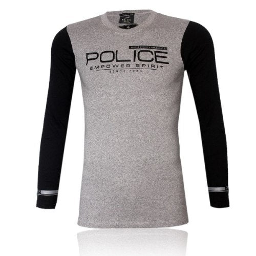 POLICE F.528 FREESIZE GREY MEDIUM PRINTED LONG SLEEVE T-SHIRT