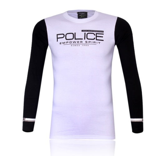 POLICE F.528 FREESIZE WHITE MEDIUM PRINTED LONG SLEEVE T-SHIRT